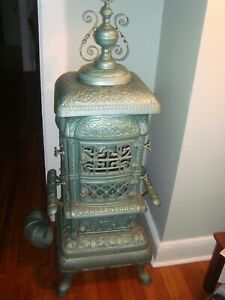 """""""Goldenrod"""" #14,ANTIQUE,PARLOR CAST IRON, WoodHeater """"POT BELLY Stove""""18"""" base"""