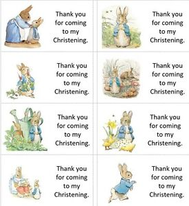 40x Personalised Peter Rabbit CHRISTENING/labels/stickers/favour/cake/sweet/bags
