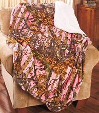 "Women's Pink In The Woods Camo Plush Sherpa Throw Blanket Soft Warm Sofa 50""x70"""
