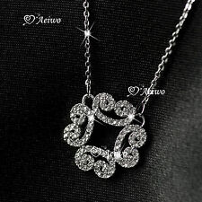 18K Gold Gf Made With Swarovski Crystal Filigree Pendant Necklace