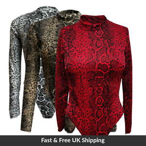 UK Womens Ladies Snake Print Long Sleeve Party Night Out Bodysuit  SIZE 8-16