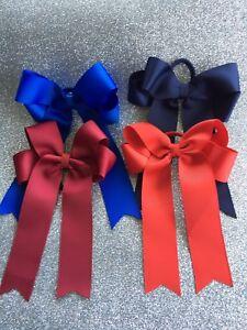 School Colour Girls Large 4 Loop Hair Ties Single Colour