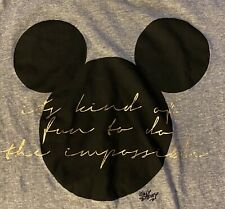 H&M LOGG Disney Mickey T Shirt Women Sz M It's Kind of Fun to Do the Impossible