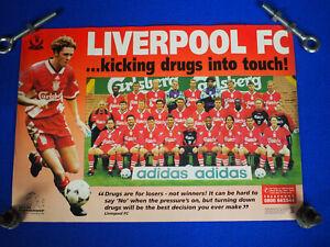 "Vintage Rare Liverpool FC Football Kicking Drugs 1990's Poster 17"" X 12"" Ex"