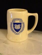 "Vintage Yale Stein Mug Blue And White Ceramic 5"" High"
