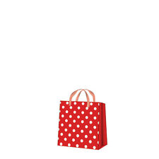 Printed Paper Gift Present Bag DOTSY CHECK Square Red White Dots Cute