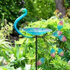Large Peacock Glass Wild Bird Bath Stake Unique Outdoor Garden Decor Tropical