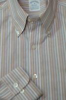 Brooks Brothers Men's Beige & Blue Stripe Cotton Casual Shirt M Medium