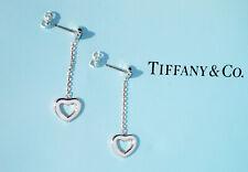 Tiffany & Co Argento Sterling Cuore Aperto Collegamento Goccia Orecchini a Lobo