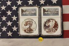 2013 W American Silver Eagle Set - PF70 NGC Rev Proof & SP70 Enhanced (Z632)