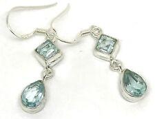 Sky Blue topaz Gemstone Pear square Drop Earrings, solid sterling silver, New.