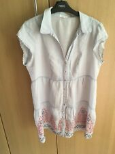 fab WHITE STUFF Pale Blue embroidery design tunic style dress size 12