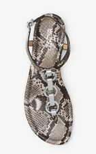 NIB $125 Michael Kors Mahari Natural Embossed Leather Thong Sandal 5.5 Snakeskin