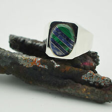 Vintage Malachite sodalite Mens Ring size 14.5 Taxco Sterling Silver 925 Mexico