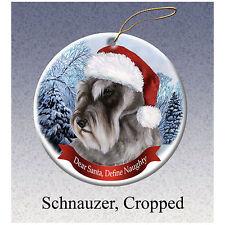 Schnauzer Cropped Howliday Porcelain China Dog Christmas Ornament