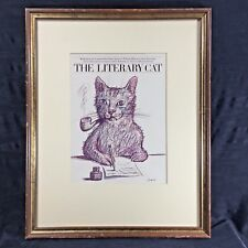 The Literary Cat Framed Matted Artist Book Cover Print Rendering for Publisher
