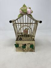 Vintage Music Box Bird Cage With Bird On Stand Moves Back And Fourth