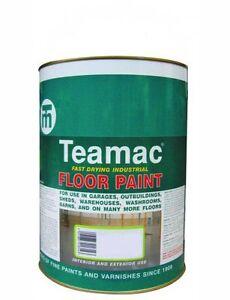TEAMAC INDUSTRIAL FLOOR PAINT INTERIOR/EXTERIOR FLINT GREY 2 x 5 Litres tins