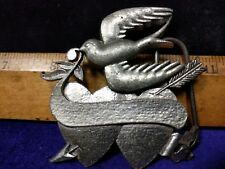 Vintage, Bird and Crossed Hearts with an arrow... Metal Belt Buckle Lot S, Used