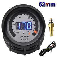52mm Car Water Temperature gauge + Voltmeter 2 in 1 Water Temp Meter With Sensor