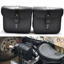 Pair Waterproof Motorcycle PU Leather Saddle Bags Storage Pouch Left&Right Black