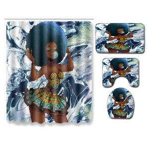 "71x71"" Afro Black African American Women Waterproof Shower Curtain Bath Mat Rug"
