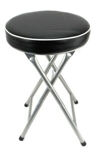 Folding Compact Black Padded Stool Chair Breakfast Bar Stools Seat Home Office