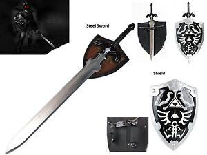 Ultimate Legend of Zelda Cosplay Dark Link Steel Master Sword Shield Set Black