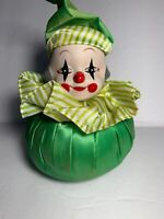 Vintage Ceramic Musical Clown Head Figure Made In Taiwan Twirling Raindrops