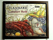 CLAMBAKE LOBSTER BOIL PICTURE SEAFOOD POTATOES CORN SEA SHELL FRAMED 16X20