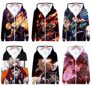 Demon Slayer Anime Hoodie Kimetsu no Yaiba Men Women Manga Zip Jacket Sweatshirt