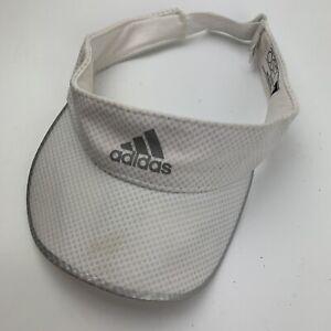 Adidas White Silver Visor Cap Hat Adjustable Adult