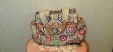 LILY BLOOM PURSE LARGE WITH FLOWER DESIGN 3 TOP ZIPPERS PRE-OWNED