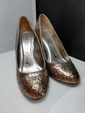 Designer Get The Look Rose Gold Glitter party/evening Stilleto Heel Shoes Size 7