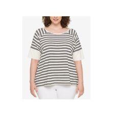 Tommy Hilfiger $49 Women's Plus Size Striped Split Back TShirt Ivory/Black ,0X