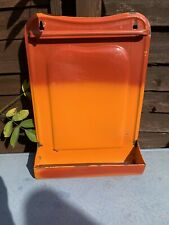 More details for vintage french orange enamel spoon rack drip tray