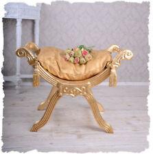 poggiapiedi sgabello barocco panca ORO IMBOTTITO in legno antico PANCHINA