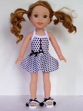 """Paris Swimsuit and Shoes Fits Wellie Wishers 14.5"""" American Girl Clothes"""