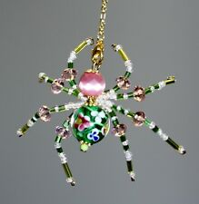 Beaded Spider - Green Flower & Pink Cateye - Ornament /Christmas Tree Decoration