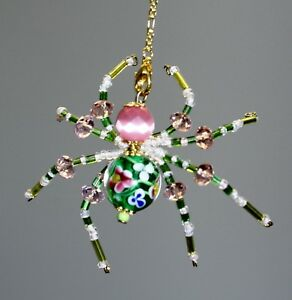 Green Flower & Pink Cateye Stone Beaded Spider - Ornament / Tree Decoration