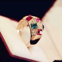 Fashion Women's Colourful Rhinestone Crystal Finger Ring Jewelry Dazzling Y2N3