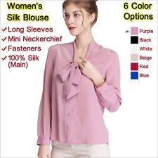 Women's Silk Blouse,Shirt&Loose Wear&Long Sleeves&V Collar,Mulberry Silk,女士真丝衬衫