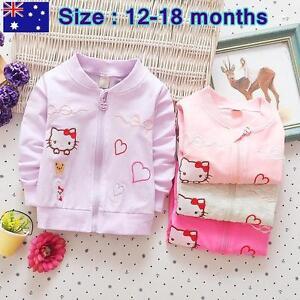 Girls Kids Hello Kitty Cardigan Pink Purple Grey  Size 12-18months