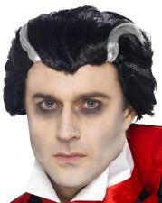 da uomo Halloween VLAD VAMPIRO Parrucca Per Costume Nero/Bianco Dracula