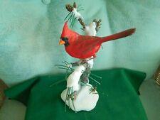 Beautiful Cardinal Bird Winter Scene Siged Bob Guge Danbury Mint