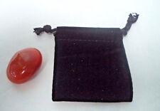 Large Carnelian Tumbled Stone + Velvet Bag (Crystal Gemstone Healing Reiki)