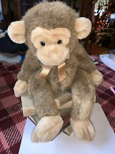 "Russ Berrie Jimby Monkey Plush Brown Chimp Stuffed Animal Soft Toy 14"""