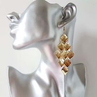 Beautiful 8cm long gold tone diamond shaped layered chandelier drop earrings