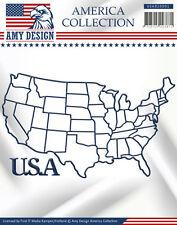 Stanzschablone -  Karte der USA + Schriftzug: USA  von Amy Design  (USAD10001)