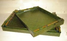 Elegantes 3er Tablett-Set aus Pandanus, grün